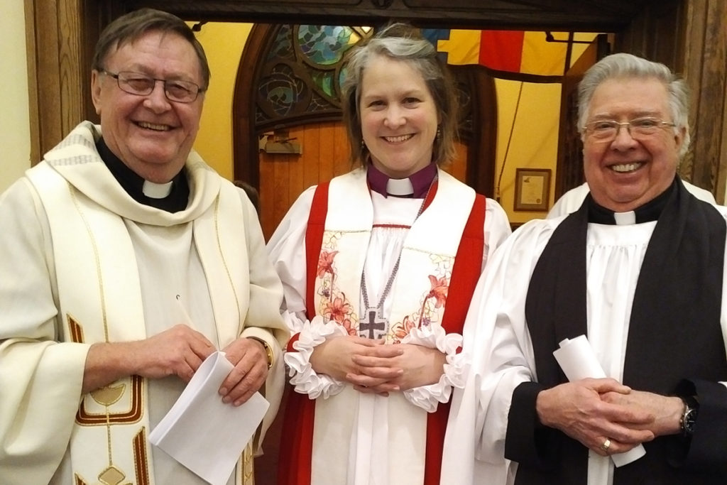 (l-r) Father Glenn, Bishop Riscylla, Rev'd Frank Tyrell